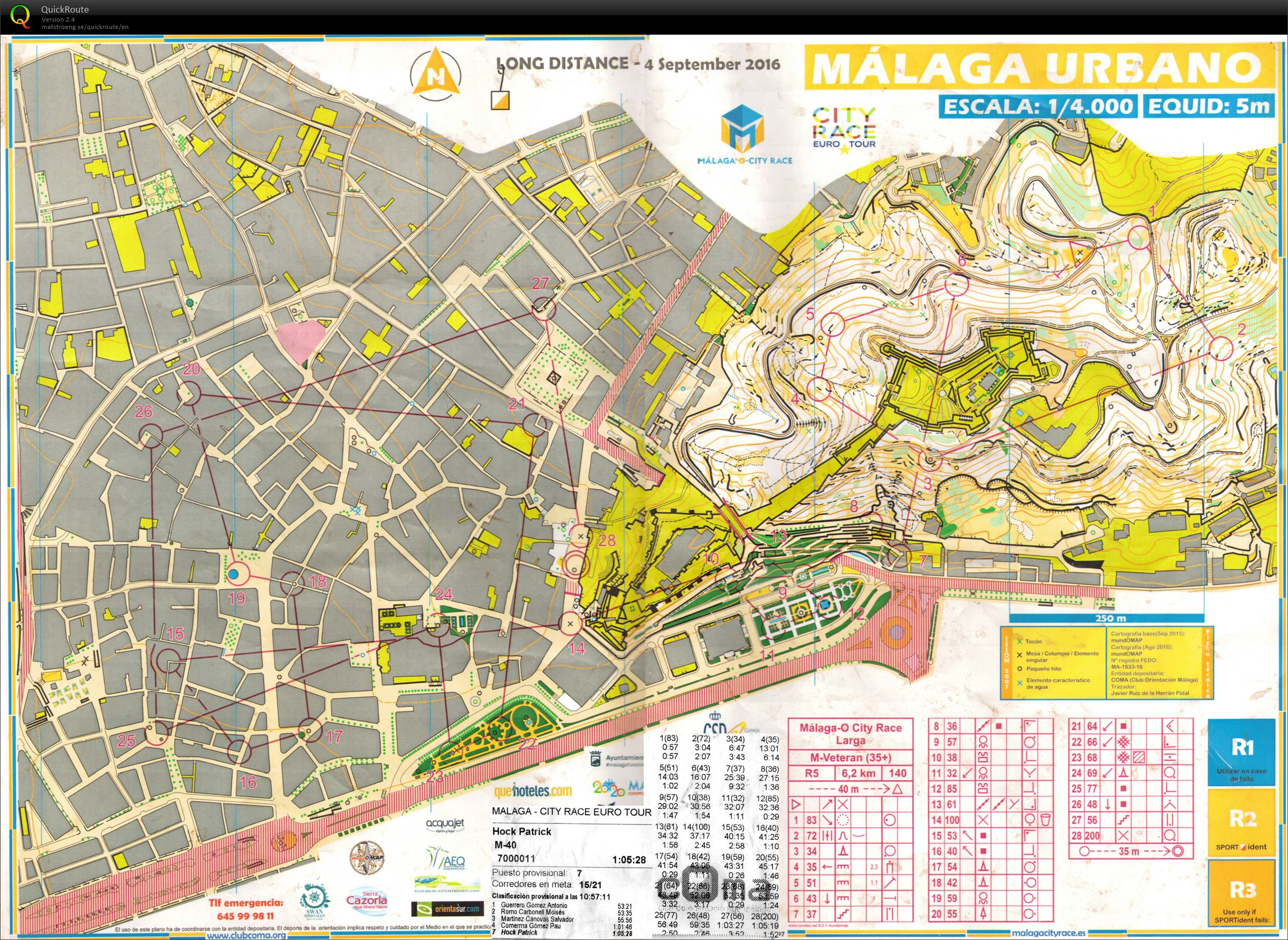 malaga city race  old route e  may rd   orienteering map  - view map without route »